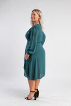 Load image into Gallery viewer, Green Wrap Dress with sleeves