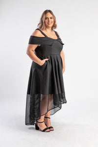 Revoque Coco Black Dress with Hi-Low hemline and netting