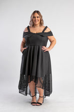 Load image into Gallery viewer, Revoque Coco Black Dress with Hi-Low hemline and netting