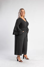 Load image into Gallery viewer, City Chic Sweet Sleeve Jumpsuit - black with bell sleeves and wide leg pant