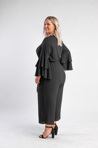 City Chic Sweet Sleeve Jumpsuit - black with bell sleeves and wide leg pant