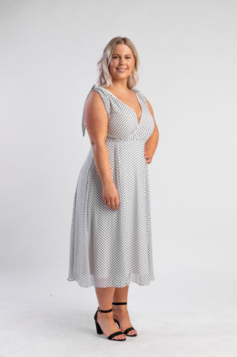 White Polka Dot Dress with V-neck