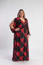 Load image into Gallery viewer, Dandy floral maxi, black and red floral dress with split sleeves