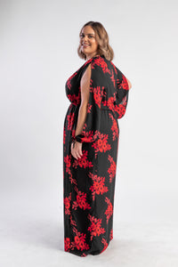 Dandy floral maxi, black and red floral dress with split sleeves