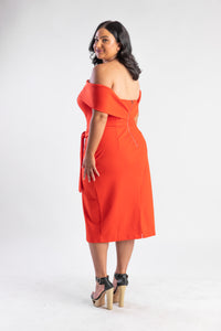 Coral Red off the shoulder Dress Atmos & Here