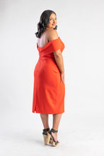 Load image into Gallery viewer, Coral Red off the shoulder Dress Atmos & Here
