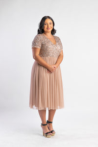 Blush midi dress with sequin top and tulle skirt