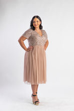 Load image into Gallery viewer, Blush midi dress with sequin top and tulle skirt
