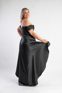 Rosie Black Gown by Elle Zeitoune - Hi-low satin skirt with lace bodice