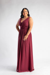 Phoebe Wine Chiffon Gown by Les Demoiselle