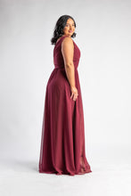 Load image into Gallery viewer, Phoebe Wine Chiffon Gown by Les Demoiselle