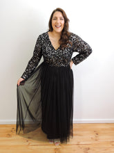 Load image into Gallery viewer, Black dress with sequin top and tulle skirt