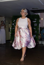 Load image into Gallery viewer, Floral Dress with Pink top and full metallic skirt