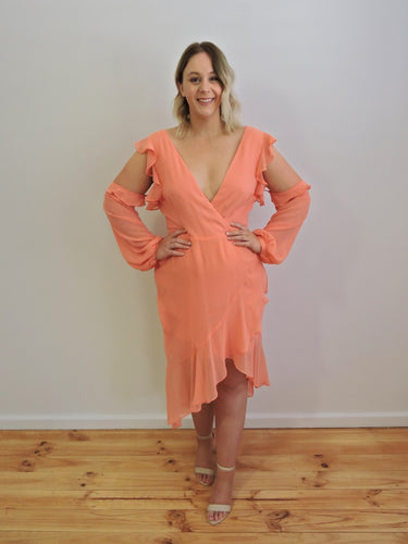 Candice peach midi dress