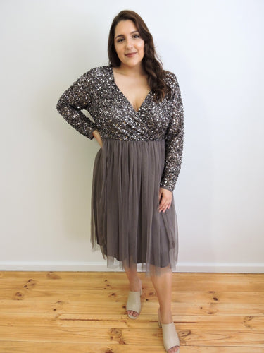 Grey sequin tulle dress with sleeves