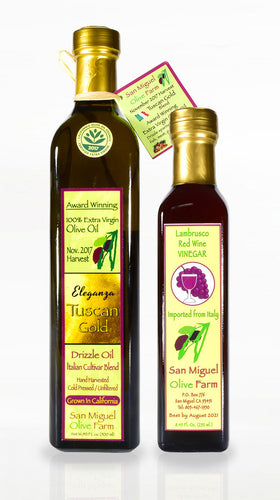 OIL & VINEGAR DUET #2 One Olive Oil (500ml. bottle)+ One Vinegar (250ml. bottle) $80.00/duet