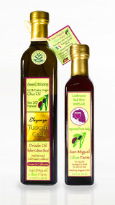 OIL & VINEGAR DUET 2 bottle minimum.. One Olive Oil (500ml) and one Vinegar (250ml)  $80.00/duet