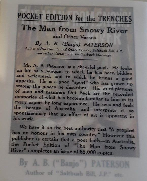 Pocket Edition for the Trenches The Man from Snowy River A.B.Paterson