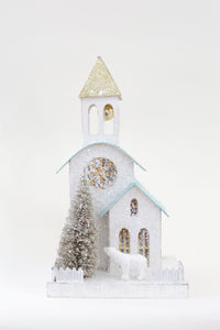 White Glitter Church Holiday House