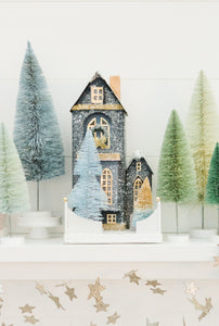 The Winter Blue Glitter Holiday House
