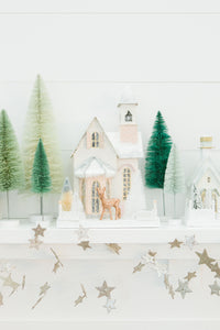 White & Blush Glitter Holiday House