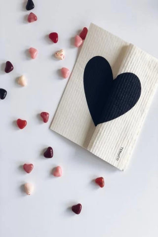 Black Heart - Swedish Dishcloth
