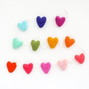 Rainbow Heart Felt Garland