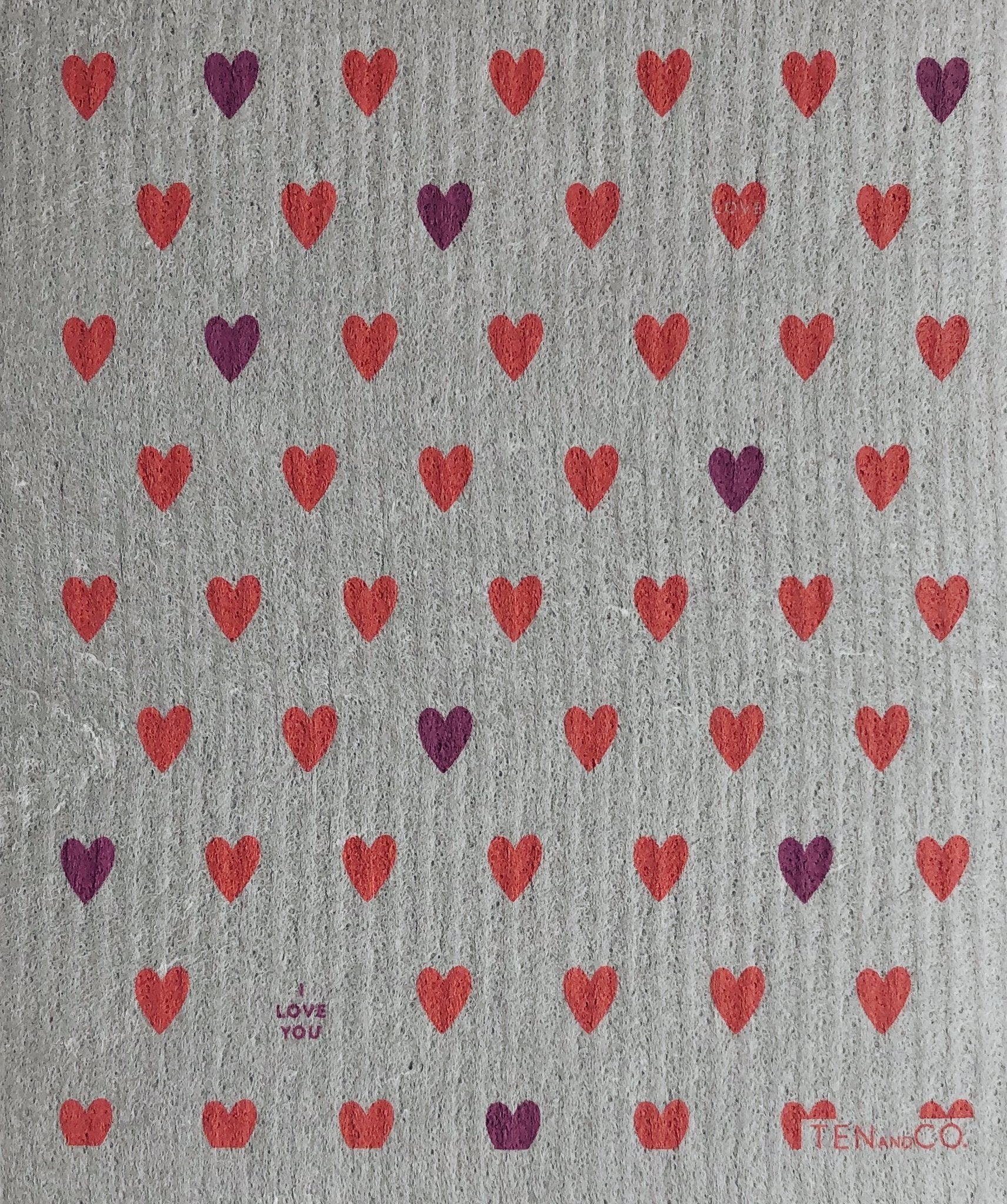 Pink & Purple Tiny Hearts - Swedish Dishcloth
