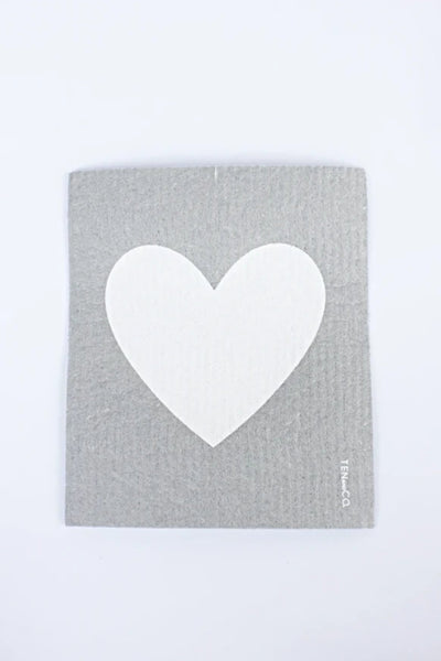 White Heart - Swedish Dishcloth