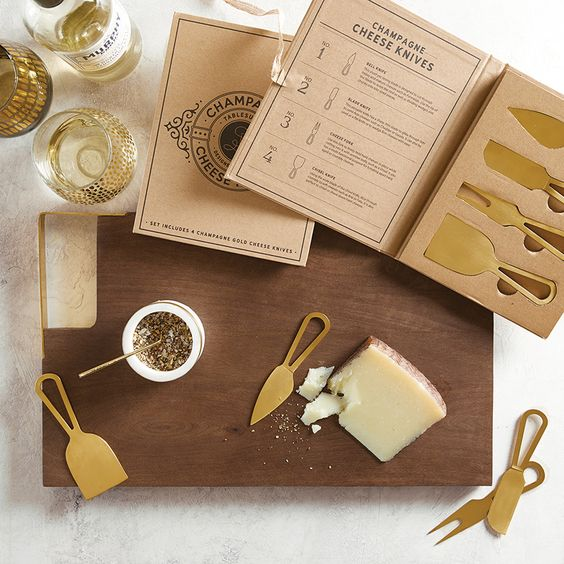 Champagne Gold Cheese Knives -  Boxed Set