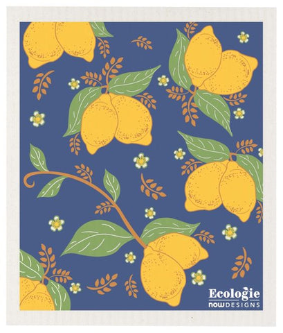 Lemons on Blue - Swedish Dishcloth