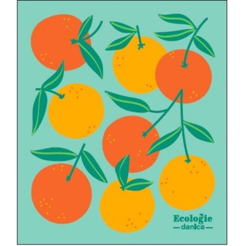 Oranges on Green - Swedish Dishcloth