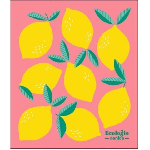 Lemons on Pink - Swedish Dishcloth