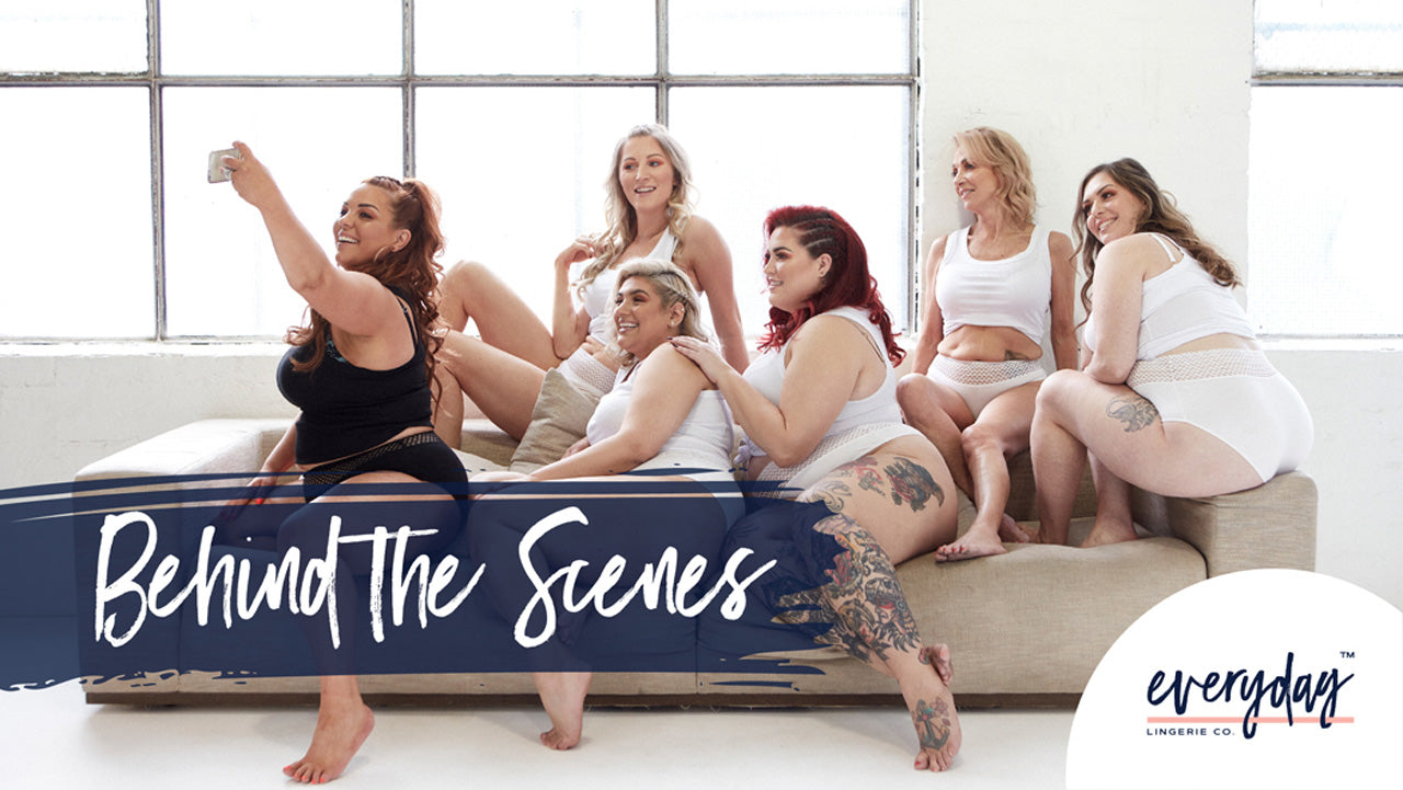 Image of Everyday Lingerie Co. models wearing ELC underwear on couch
