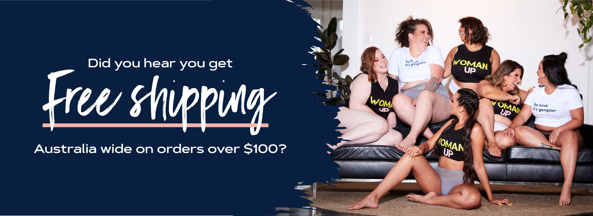 Image of Everyday Lingerie Co. offering free shipping on orders over $100
