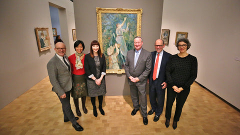Thom Collins, Neubauer Family Executive Director and President of the Barnes Foundation; Cindy Kang, Associate Curator of the Barnes Foundation; Nicky Myers of the Dallas Museum of Art (co-curator of Berthe Morisot: Woman Impressionist); Philadelphia Mayor Jim Kenney; Joseph Neubauer, Chairman of the Board of Trustees of the Barnes Foundation; and Sylvie Patry of the Musee d'Orsay (co-curator of Berthe Morisot: Woman Impressionist), in Berthe Morisot: Woman Impressionist exhibition at the Barnes Foundation, 2018. (The Barnes's presentation of Berthe Morisot: Woman Impressionist was managed by Cindy). Photo by Darryl Moran