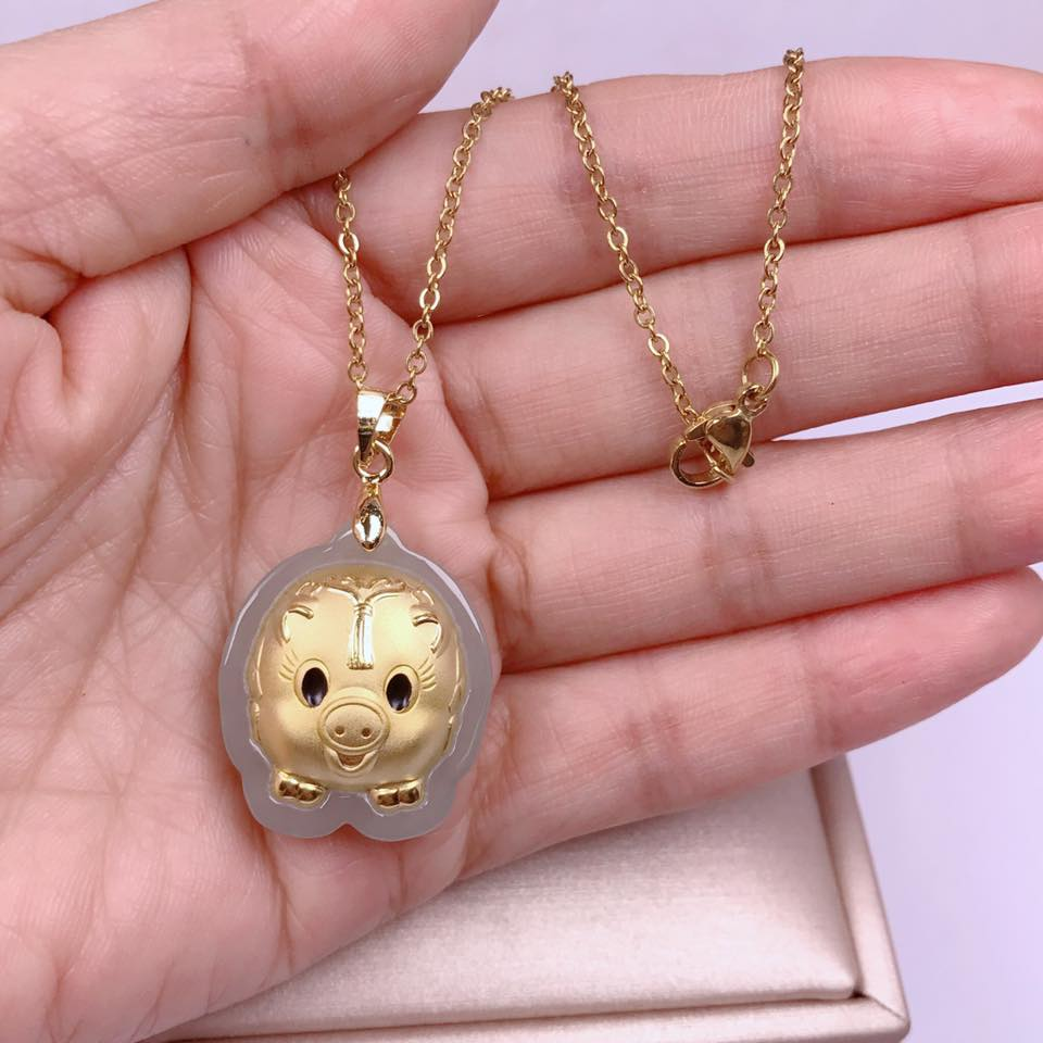 58e332414a77e 💠BEST SELLER💠 LUCKY PIG JADE NECKLACE 24K JAPAN GOLD PLATED w/ FREE  CHRISTMAS GIFT🎁
