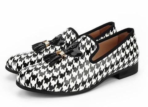 "The ""Houndstooth"" Patent Leather Tassel Loafers"