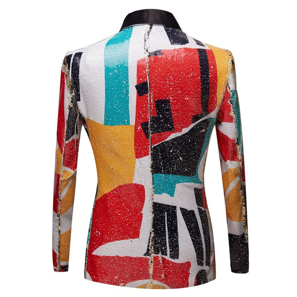 "The ""Vice City"" Sequin Slim Fit Blazer Suit Jacket"