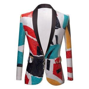 "The ""Vice City"" Sequin Slim Fit Blazer Suit Jacket William // David M"