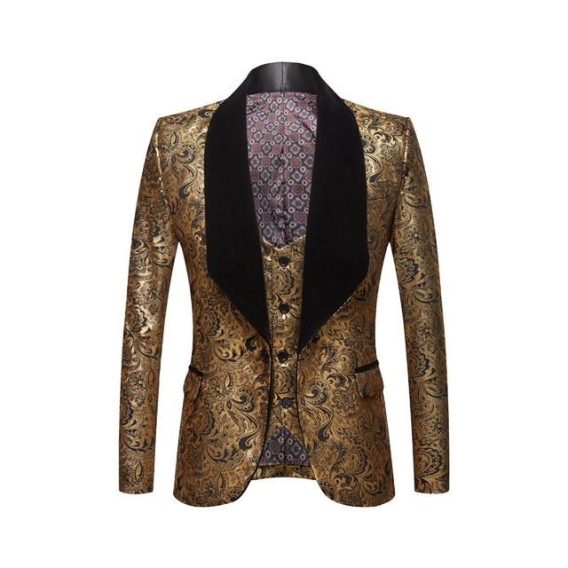 "The ""Stephan"" Two Piece Slim Fit Blazer Suit Jacket - Gold PYJTRL Official Store L / 42"