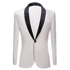 "The ""Xavier"" Velvet Slim Fit Blazer Suit Jacket - Ivory"