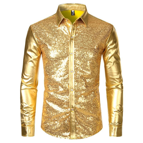 "The ""Ludwig"" Sequin Slim Fit Shirt - Multiple Colors William // David Gold XL"
