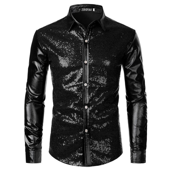 "The ""Ludwig"" Sequin Slim Fit Shirt - Multiple Colors William // David Black M"