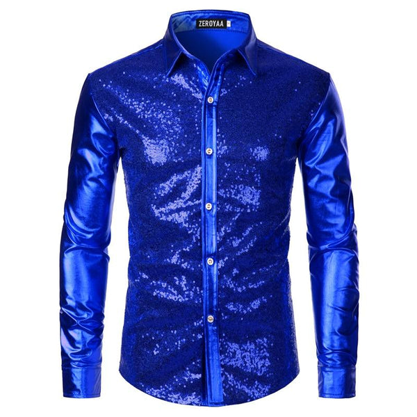 "The ""Ludwig"" Sequin Slim Fit Shirt - Multiple Colors William // David Royal Blue M"