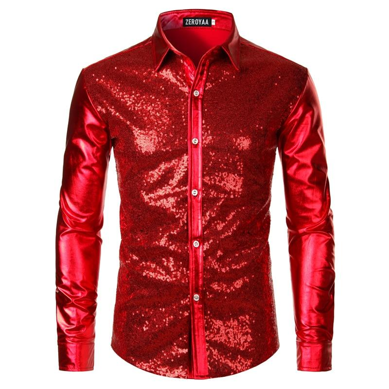 "The ""Ludwig"" Sequin Slim Fit Shirt - Multiple Colors William // David Red M"