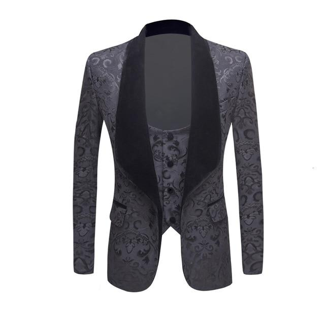 "The ""Stephan"" Two Piece Slim Fit Blazer Suit Jacket - Charcoal"