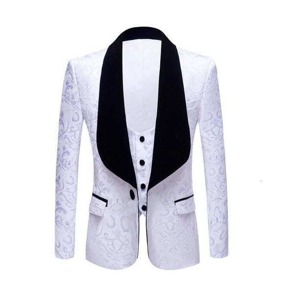 "The ""Stephan"" Two Piece Slim Fit Blazer Suit Jacket - Ivory"