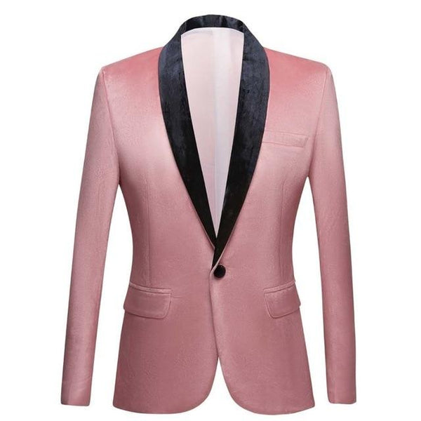 "The ""Xavier"" Velvet Slim Fit Blazer Suit Jacket - Salmon William // David XS"
