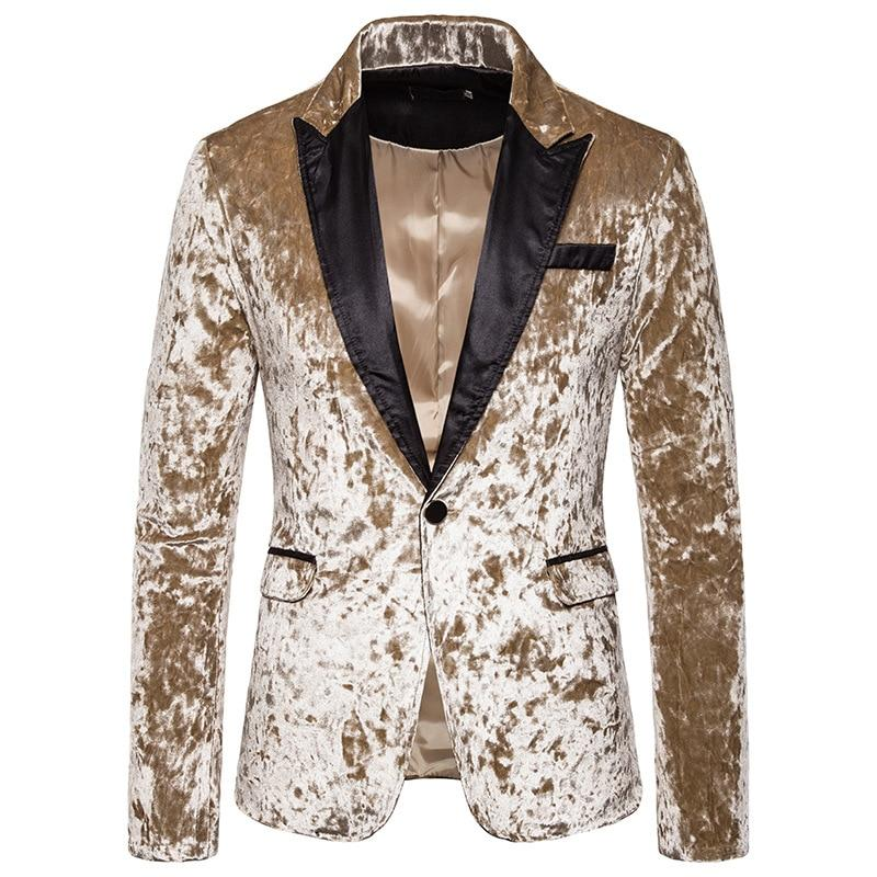 "The ""Sebastien"" Velour Slim Fit Blazer Suit Jacket - Gold William // David"